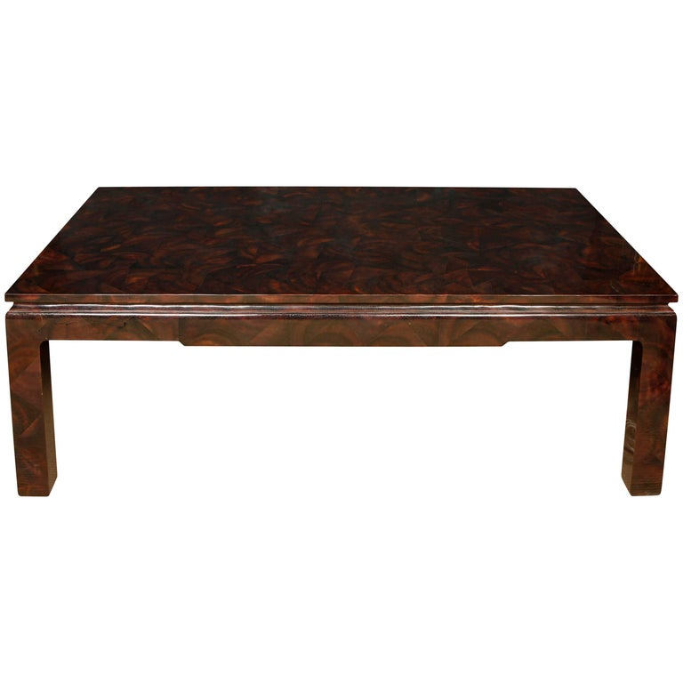 Bamboo Tortoise Coffee Table: Oversize Faux Tortoise Coffee Table At 1stdibs