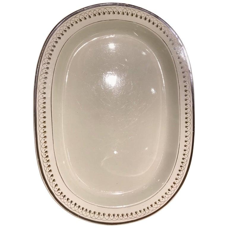 19th Century Large Oval Creamware Platter