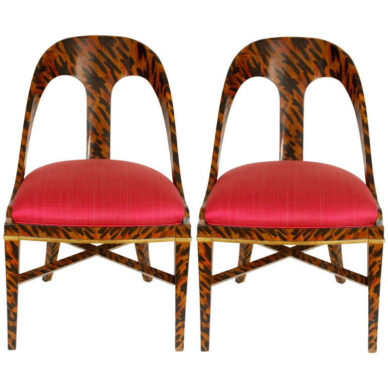 Pair of Faux Tortoise Spoon Chairs