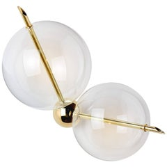 Lune Two Lights Contemporary Sconce / Wall Light Polished Brass Handblown Glass