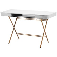 Contemporary Cosimo Desk by Marco Zanuso Jr. with Grey Glossy Lacquered Top