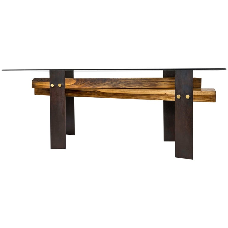 Cross Dining Table by Herbeh Wood, Capa Prieto, Black Steel with Brass Details For Sale