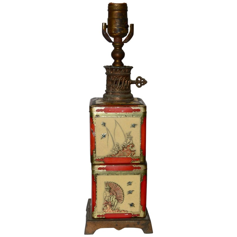 Chinoiserie Style Tea Tin Electric Table Lamp For Sale