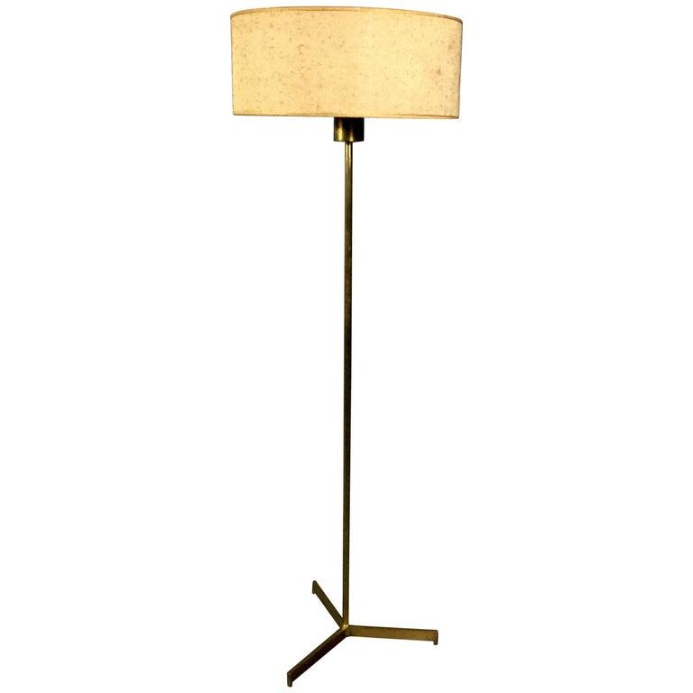 1960s Brass Tripod Floor Lamp, Original Boucle Shade, USA