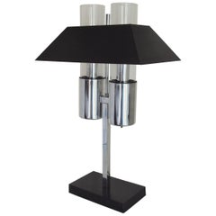 American Midcentury Chrome and Black Enamel, Twin Bulb Banker's Lamp by Raymor