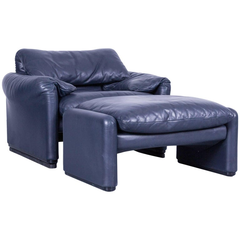 Cassina Maralunga Blue Leather Armchair & Stool Set by Vico Magistretti Function
