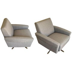 Pair Swivel Club Chairs, Italy, Midcentury
