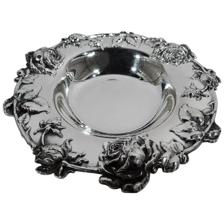 Antique American Sterling Silver Bowl with Roses