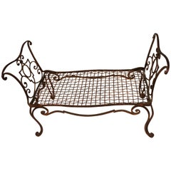 Baguès French Jean Charles Gold Gilt Wrought Iron Bench Lattice Scroll Arms