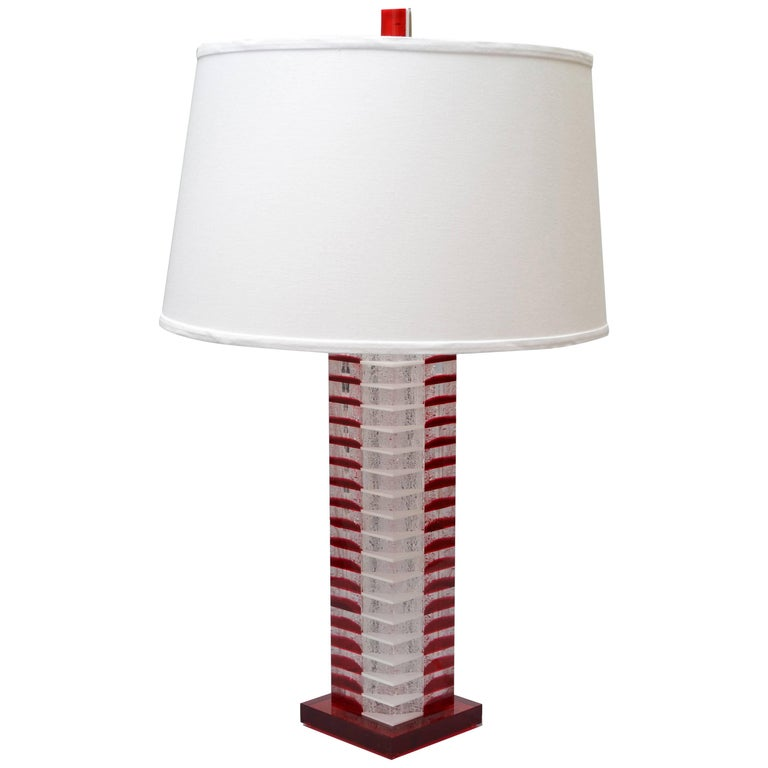 Transpa Lucite Table Lamp, Tall Red Lamp