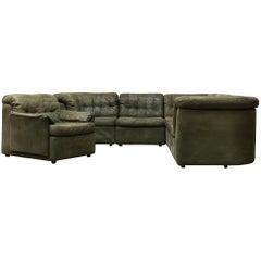 De Sede Style Green Patchwork Sofa Set and Armchair