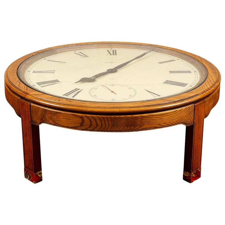 Vintage Howard Miller Clock Face Tail Table For