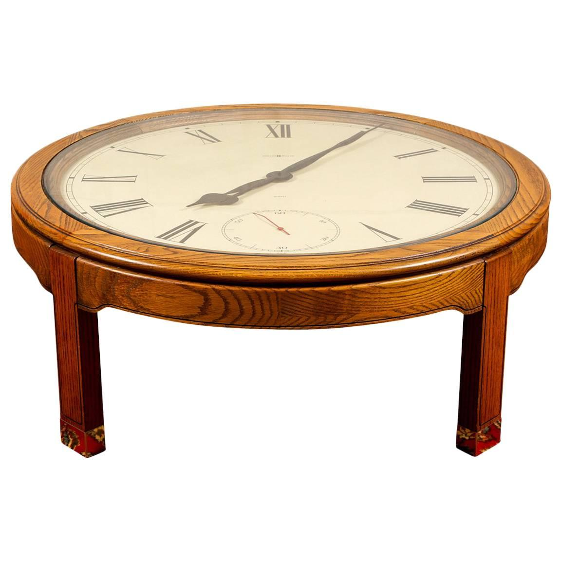Vintage Howard Miller Clock Face Cocktail Table For Sale