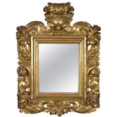 Small Ornamental Mirror, Gilt wood, 17th-18th Centuries
