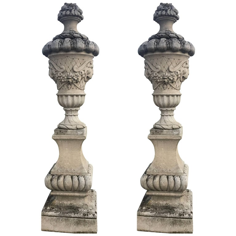 Fine Pair of Italian Carved Stone Garden Vases with Base For Sale