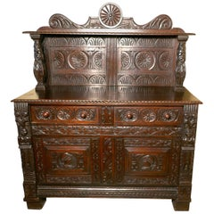 Early 18th Century Celtic Carved Oak Sideboard