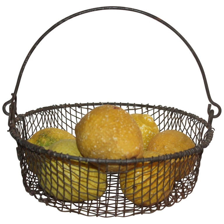 19th Century Wire Basket with Six-Stone Lemons