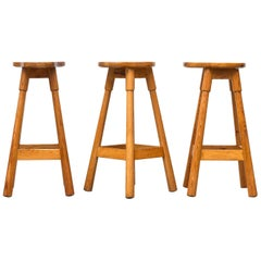 Set of Three Rainer Daumiller Pine Bar Stools
