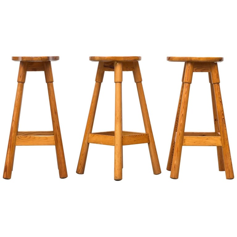Set of Three Rainer Daumiller Pine Bar Stools For Sale