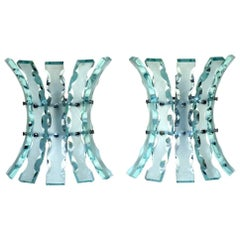 1960s Fontana Arte Style Crystal Italian Design Wall Lamps Sconces