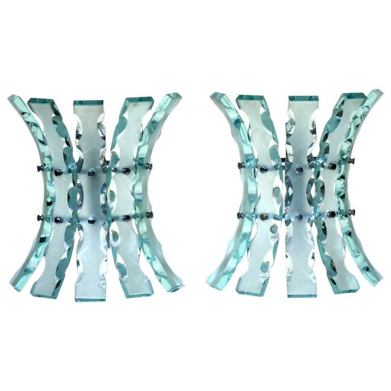 1960s Fontana Arte Style Crystal Italian Design Wall Lamps Sconces