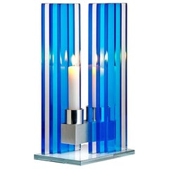 Contemporary Blue Glass & Aluminum Candlestick