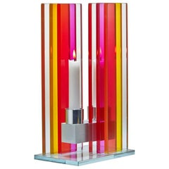 Contemporary Yellow & Pink Glass & Aluminum Candlestick