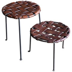 Iron and Leather Stools by Lila Swift and Donald Monell