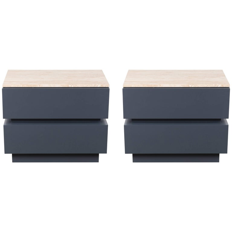 Pair of Stacked Box Nightstands with Stone Top by Lawson-Fenning
