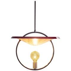 Mid-Century Modern Solid Brass, Steel, Incandescent Pendant in Maroon