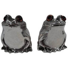 Pair of English Sterling Silver Novelty Frog Salt and Pepper Shakers