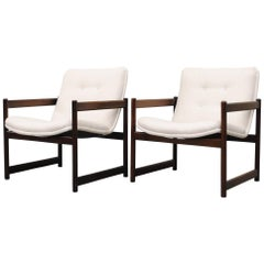 Artifort Lounge Chairs with Mahogany Cube Frame