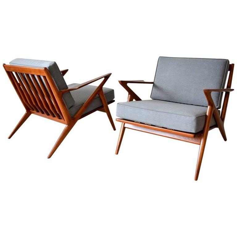 Pair of Original Poul Jensen 'Z' Chairs by Selig, circa 1960