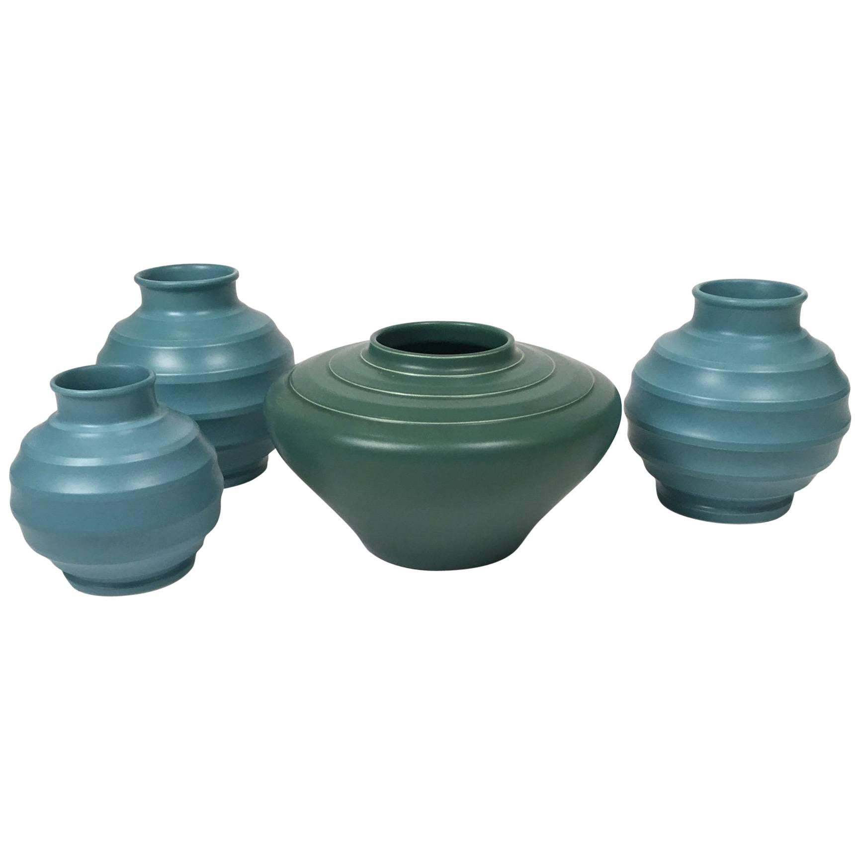Four Colorful Examples of Keith Murray's Pottery, circa 1930