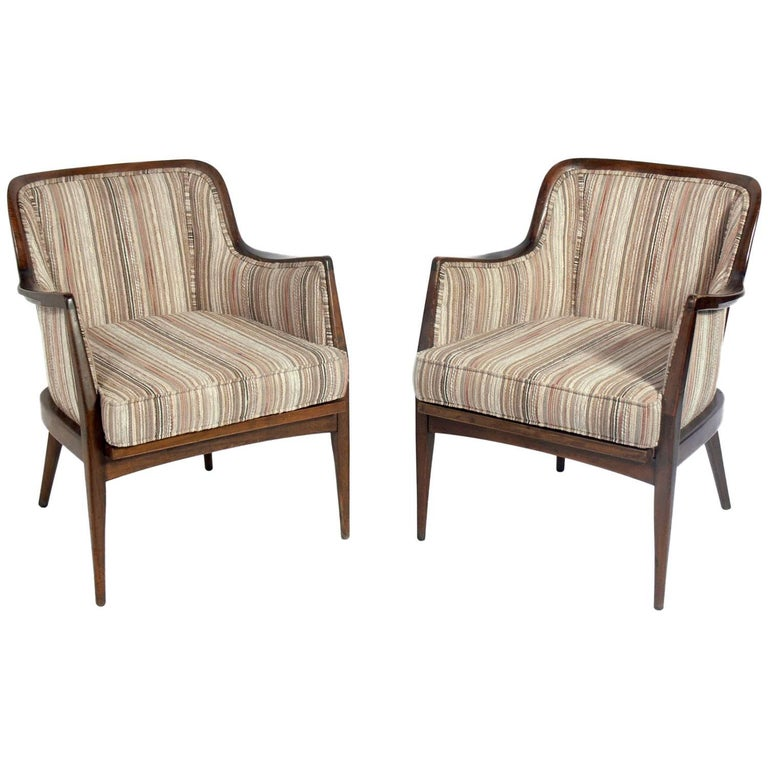Pair of Curvaceous Italian Lounge Chairs