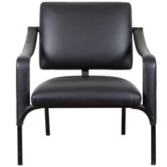 Black Leather Armchair by Jacques Adnet