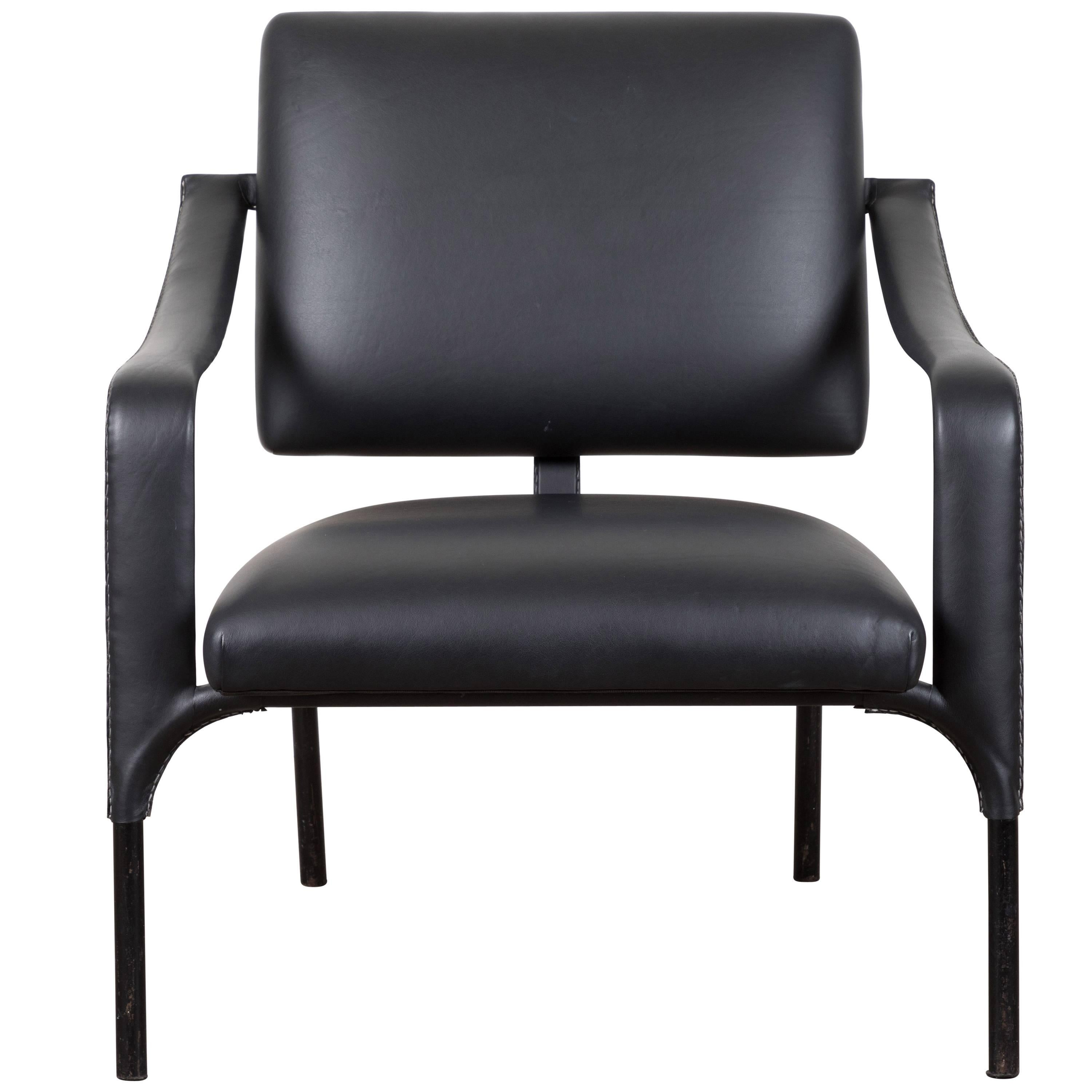 Black Leather Armchair By Jacques Adnet For Sale