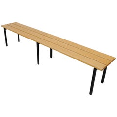 Extra Long Blonde Slat Bench