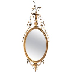 18th Century English Gilt Oval Mirror with Floral Motif