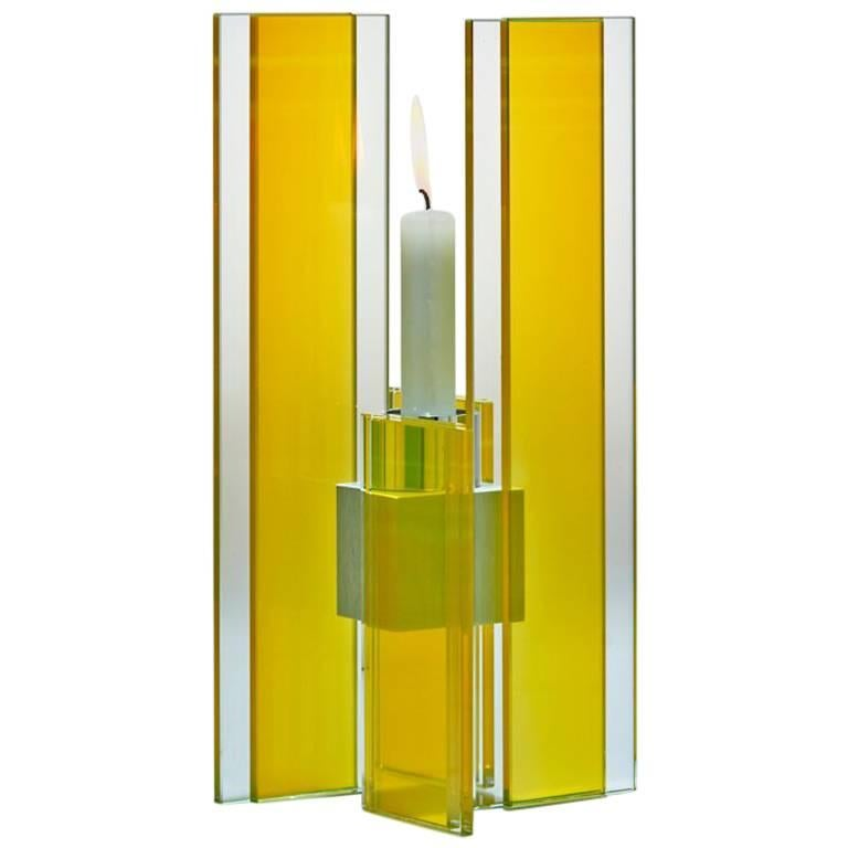 Candleholder Deco Design Tabletop Glass Aluminium Contemporary Yellow