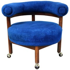 Royal Blue Round Corner Chair with Bolster Back on Casters Midcentury