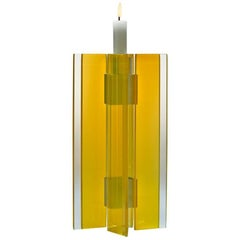 Contemporary Yellow Glass & Aluminum Candlestick