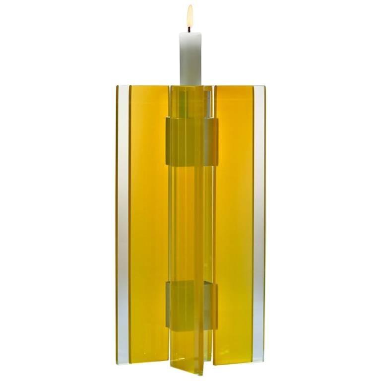 Candleholder Majestic Design Tabletop Glass Aluminium Contemporary Yellow