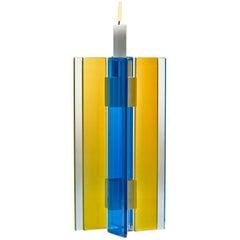 Contemporary Yellow & Blue Glass  Aluminum Candlestick