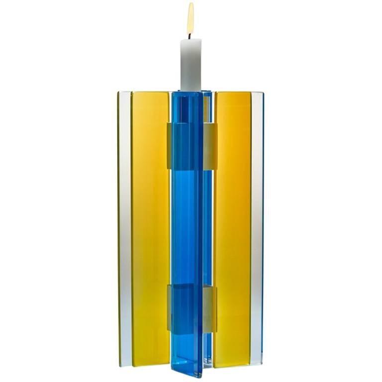 Candleholder Majestic Design Tabletop Glass Aluminium Contemporary Yellow Blue