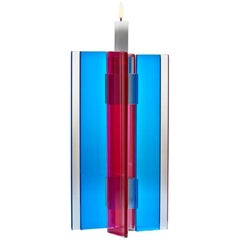 In Stock Candleholder Majestic Design Tabletop Glass Aluminum Blue & Red