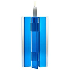 Candleholder Majestic Design Tabletop Glass Aluminium Contemporary Blue