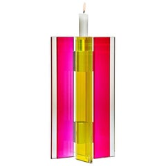 In Stock Candleholder Majestic Design Tabletop Glass Aluminum Red Yellow