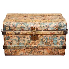 Antique Decoupage Trunk with Victorian Motif