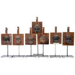 Decorative Metal Doll Head Molds Objet de Virtu on Custom Stands